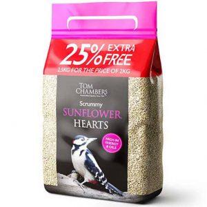 Scrummy Sunflower Hearts – 25% FOC – 2.5kg