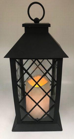 32cm bo candle in black lantern