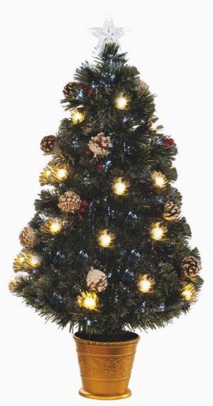 Artificial Christmas Tree 90cm berry and cone fibre optic